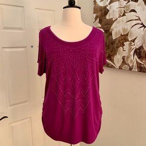 Lane Bryant Purple Embellished Top